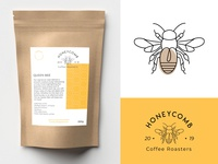 Honeycomb Coffee Roasters coffee icon design brand brand identity branding design brand design label mockup label packaging packaging design package design label label design icon illustrator design typography flat illustration branding logo