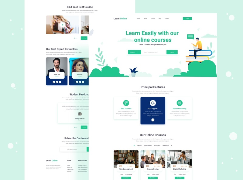 Learn Online Landing Page design creative design creative agency landing page dribbble best shop agency website education online education onlline learning platform learning agency 2020 trends 2020 trend 2020 design 2020