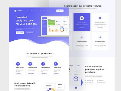 Quniex Saas Landing Page Design web design website design app design analytics landing page web application web app saas saas design ux design ui