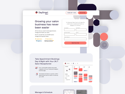 Salon Management Platform | Landing Page landing page trial salon ui cro ux software saas marketing design conversion design