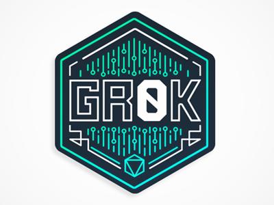 Grok Game Logo retrowave scifi circuits badge vector lineart logo