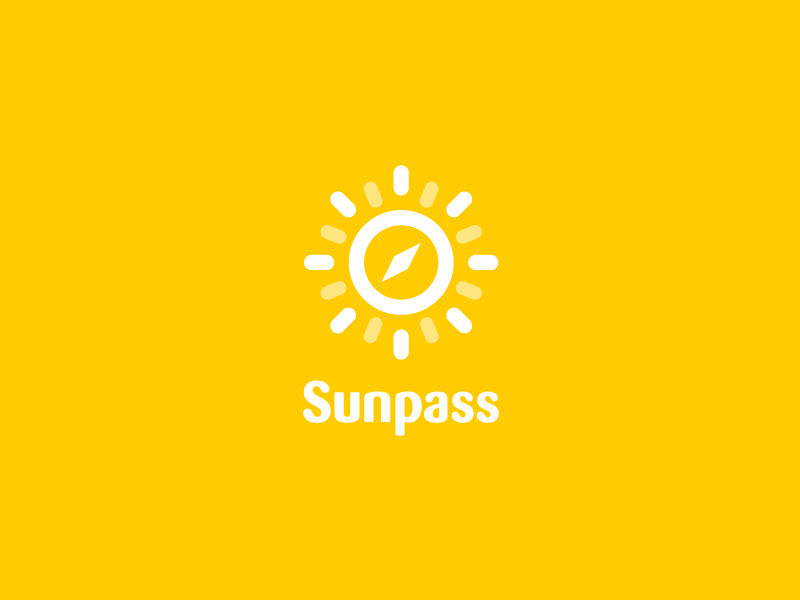 Sunpass - Logo direction logo logodesign corporate design travel compass sun sunshine concept mobile app search find