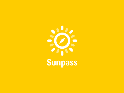Sunpass - Logo direction logo logodesign corporate design travel compass sun sunshine concept mobile app search find
