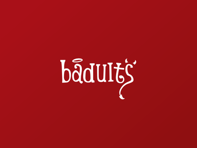 Badults - Logo type design lettering logo bad adults dating date flirt love angel devil devilish sexy