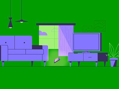 Living Room livingroom triad design illustration