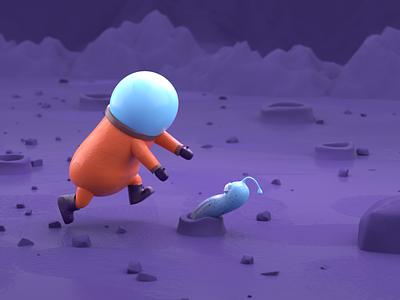 Stylized Character in Blender <3 moon astronaut illustration 3d modeling 3d blender3d mographmentor rigging planet worm character blender