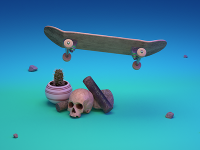 F*cking Flipping - Style Frame 0001 street animation motion design motion graphics styleframe skull cycles blender 3d design skateboard