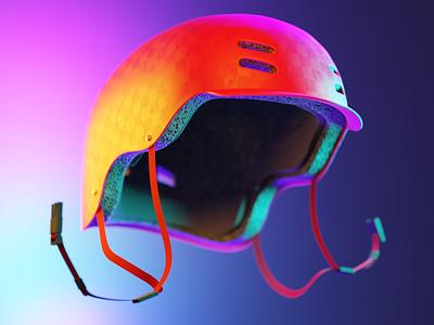 0005 - Keep Pushing Series - 0005 - Divine Protection abrstract color render cycles blender illustration 3dillustration 3d helmet skateboard