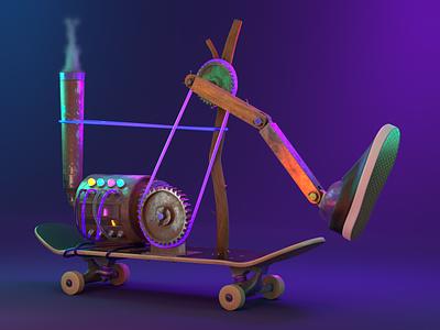 0005 - Push Machine - 0001 - Street Rules machine cycles blender illustration 3dillustration 3d skateboard animation motion design motion graphics