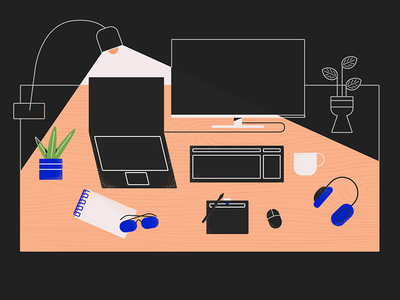 PanicStation! Ops, Workstation! flatdesign desk illustration illustrationformotion schoolofmotion motion design minimal design motion graphics animation