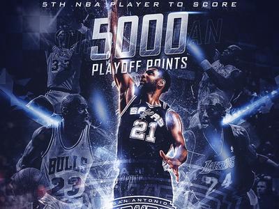 Tim Duncan 5K Playoff Points - NBA Artwork