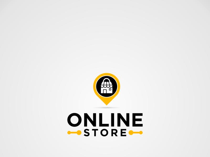 logo Online Store template design placeholder illustrations logo symbol application ecommerce buy online shopping online shop shopping cart shop sho online internet location pin bag store