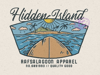 Hidden Island surf illustration surfing good design rafsalagoon adventure beach nature nature illustration good vibes vintage logo design vintage logo branding design vintage badge vintage illustration