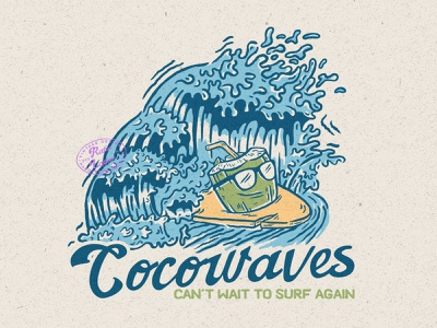 Cocowaves surf illustration vintage vintage badge rafsalagoon nature illustration nature illustration good vibes good design design beach