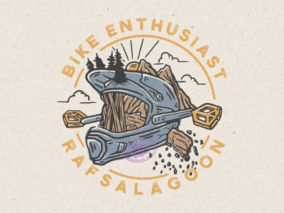 Bike Enthusiast adventure logo adventure vintage design pedals bikers bike rafsalagoon branding good vibes vintage vintage badge nature illustration illustration