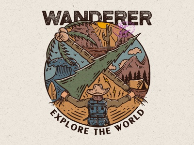 Wanderer, Explore the World wanderer adventure logo vintage logo vintage design good design branding good vibes adventure vintage badge vintage rafsalagoon nature illustration illustration