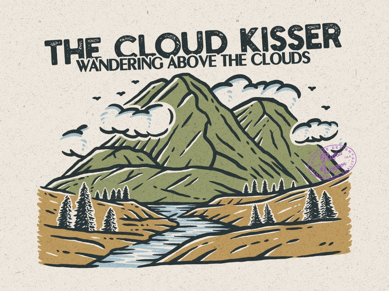 The Cloud Kisser mountain logo mountain good design branding design good vibes adventure vintage badge vintage rafsalagoon nature illustration illustration