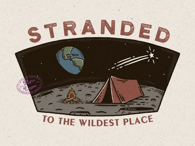Stranded to Wildest Place adventure logo moonlight vintage design vintage badge vintage rafsalagoon nature illustration mountain logo mountain illustration good vibes good design branding adventure
