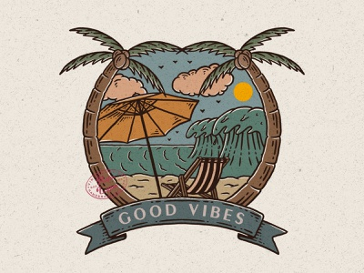 Good Vibes beach surf illustration vintage design vintage badge vintage rafsalagoon nature illustration mountain logo mountain illustration good vibes good design branding adventure