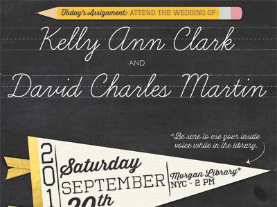 A Is For Adore Wedding Invitation wedding teacher school chalkboard chalk love pennant flag marriage black gold cream