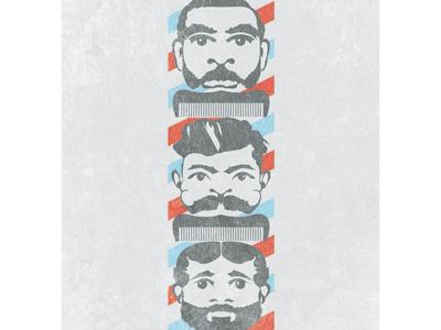 Barber Totem barber faces mustache beard comb barber pole poles red blue black grey barbershop