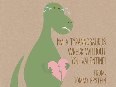 Tyrannosaurus Wreck tyrannosaurus rex valentine broken heart crying dinosaur tears heart pink green brown