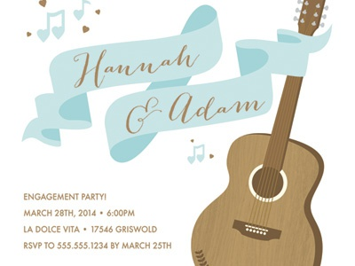 Making Beautiful Music Engagement Party guitar ribbon banner music hearts blue brown love engagement wedding invite invitation