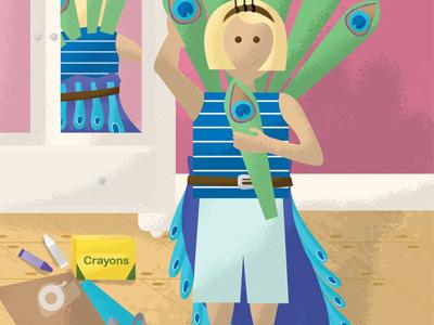 Illustration Friday - Exotic girl room peacock illustration friday crayons paper scissors tape childrens cartoon