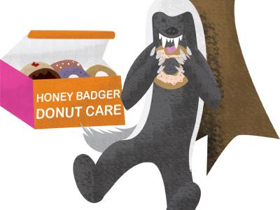 Honey Badger Donut Care honeybadger badger doughnuts donuts dont care sketch illustration