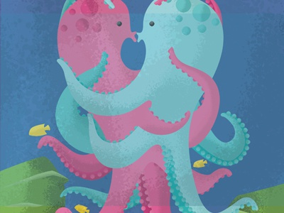 Illustration Friday - Twisted illustration friday twisted octopus ocean underwater sea tangle kiss