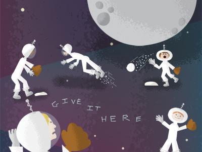 Illustration Friday - Space space galaxy rocket space ship astronaut baseball ball bat mit