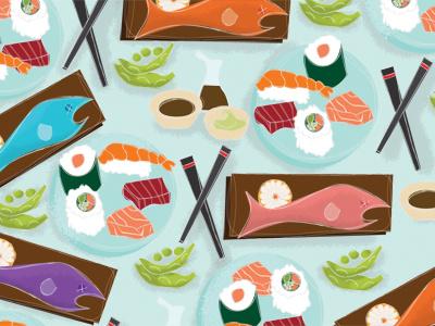Illustration Friday - Gone Fishing fish sushi sushi roll sashimi chopsticks soy sauce wasabi edamame