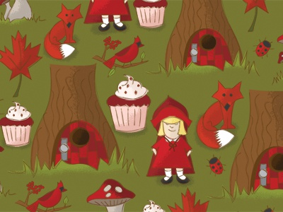 Illustration Friday - Red red fox little red riding hood door in a tree mushroom red velvet cupcake ladybug cardinal cherry tree forest