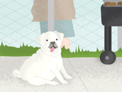Illustration Friday - Sizzle illustration friday sizzle pug god bbq barbecue bikini bathing suit love neighbors