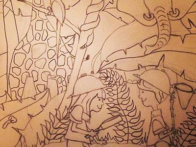 Illustration Friday - Survival: In Progress survival illustration friday jungle kids pith helmet giraffe elephant snake foliage leaf palm