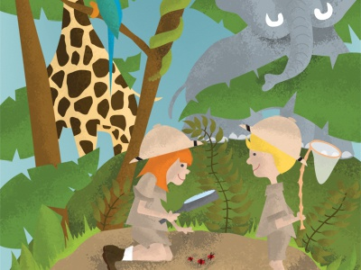 Illustration Friday - Survival survival jungle safari giraffe elephant parakeet snake kids boy girl pith helmet