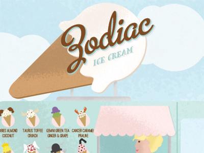 Illustration Friday - Zodiac flip flops horoscope ice cream ice cream cone ice cream truck illustration illustration friday summer zodiac