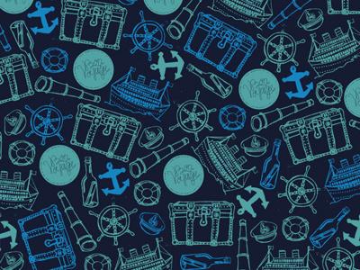 Illustration Friday - Voyage anchor boat bon voyage captains hat life preserver life vest message in a bottle naval ocean sea seafaring ship