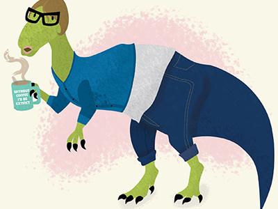 Me as a dinosaur dinosaur trex prehistoric graphic designer illustrator coffee dino