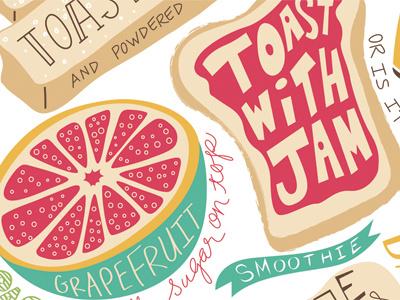 Breakfast Is Best breakfast grapefruit toast french toast jelly jam illustration placemat food