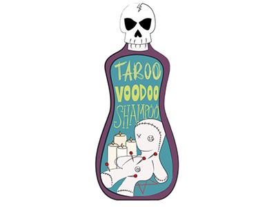 Taboo bottle pentagram voodoo doll skull typography type shampoo voodoo taboo