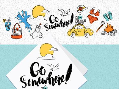 Go Somewhere digital sketch global talent search 2016 summer travel slug bug vw beetle road trip beach illustration handlettering