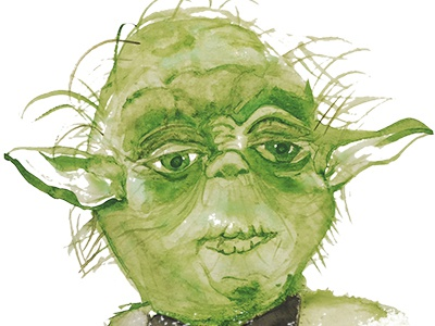 Yoda Watercolor paint 80s geek nerd jedi watercolor star wars yoda