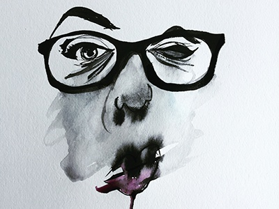 Nicole Watercolor Smudge painting art smudge brush portrait lips face eyebrows eyes glasses black watercolor