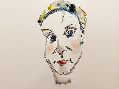Awkward Self Portrait No. 1 woman paint design art watercolorportrait portrait selfportrait watercolour watercolor