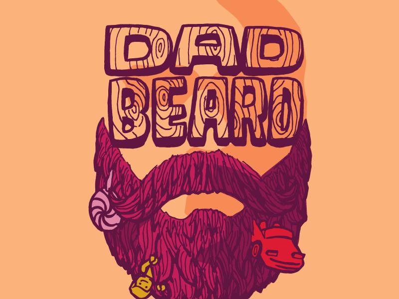 Dad Beard Logo woodgrain hand lettering handdrawn logo lego lolli sucker toy car beard dad