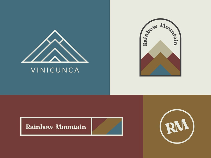 Rainbow Mountain muted colors branding design lockup grid rainbow mountain vacation brand design vector brand identity rainbow peru mountain icon logo branding design