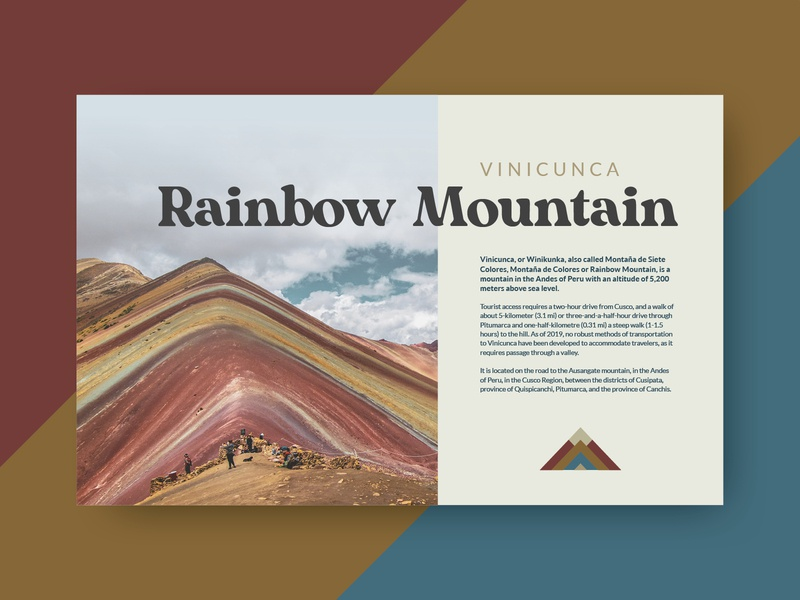 Rainbow Mountain stripes muted card vacation rainbow mountain rainbow mountain peru web icon vector grid logo typography branding layout design
