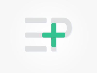 Plus Logo p e mark letterforms teal green gray design logo plus