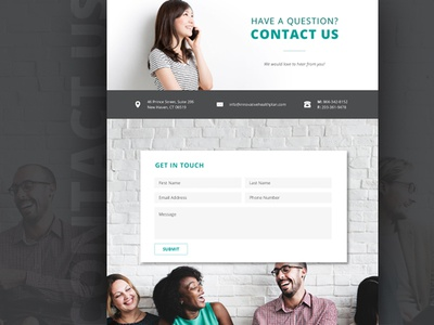 Contact  ui layout phone web information question form get in touch webpage web design location contact